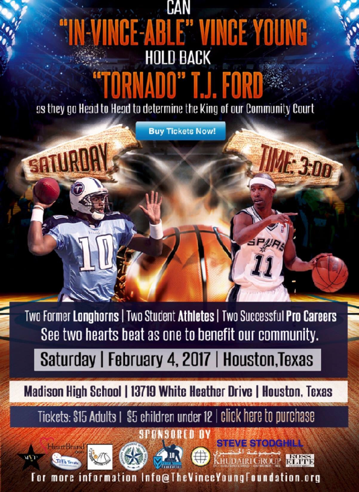 TJ Ford vs Vince Young Celebrity Basketball Game